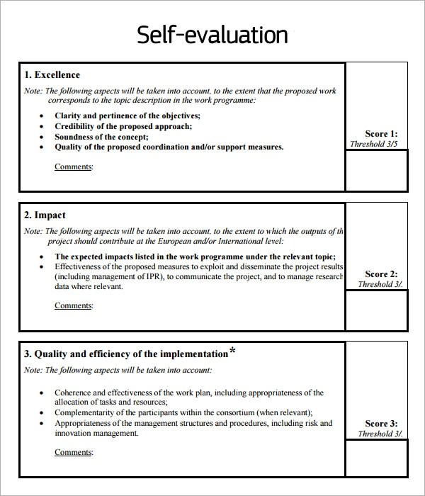 8 Sample Self Evaluation Templates to Download Sample Templates