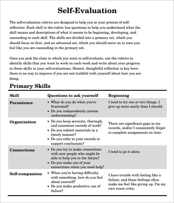 self assessment template - Buckgreenidesign - Self Evaluation
