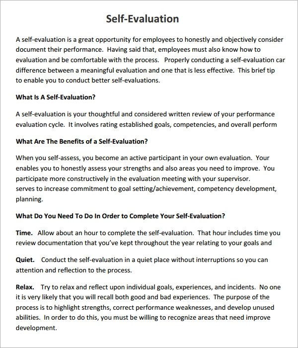 Teacher Self Evaluation Form | Update Your Resume When Looking For