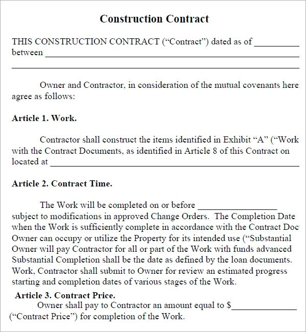 Construction Contractor Contract Template – Free Construction Contracts Templates