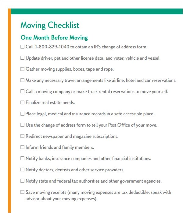 10 Sample Moving Checklist Templates to Download for Free Sample - checklist for moving
