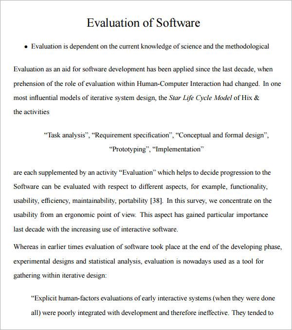 software evaluation - criasite