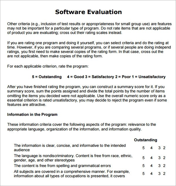 Sample Software Evaluation Crm RfiRfp Template Requirements