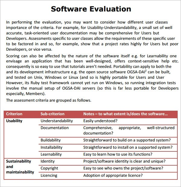 9+ Software Evaluation Samples Sample Templates