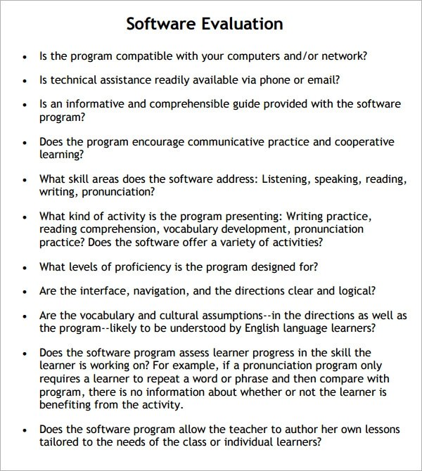 9+ Software Evaluation Samples Sample Templates - sample software evaluation