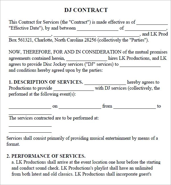 Free Sample Dj Contract Template  Resume Maker Create