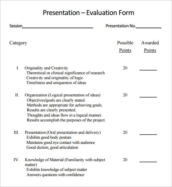 Sample Presentation Evaluation - 6+ Documents in PDF - sample student evaluation forms