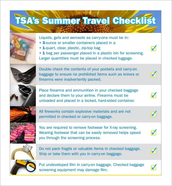 7+ Travel Checklist Samples Sample Templates