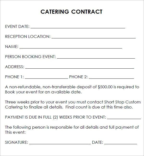 Catering Contract Template Free u2013 Template Design - catering contract template