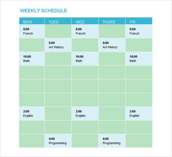 Sample Weekend Schedule - 6+ Documents in Word, PDF
