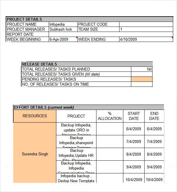 Weekly Status Report Template Excel - Costumepartyrun