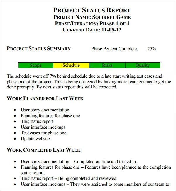 project status report template excel - project status report template excel