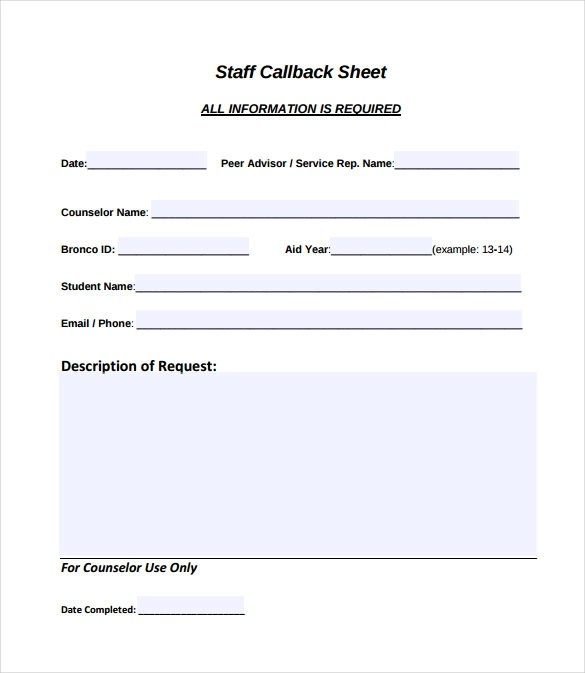 call back sheet - Ozilalmanoof - phone sheet template