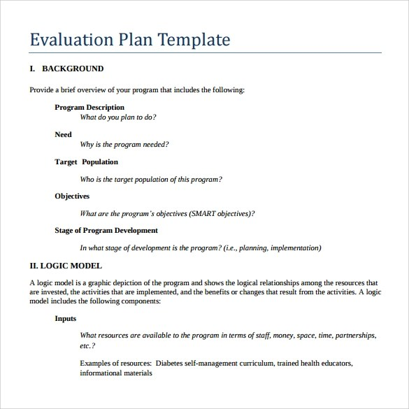 9+ Evaluation Plan Templates Sample Templates