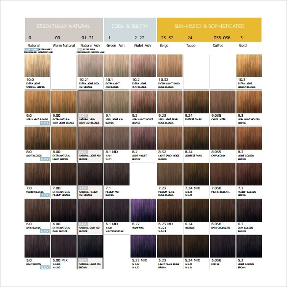 Ameron Color Chart Choice Image - chart design for project - general color chart template