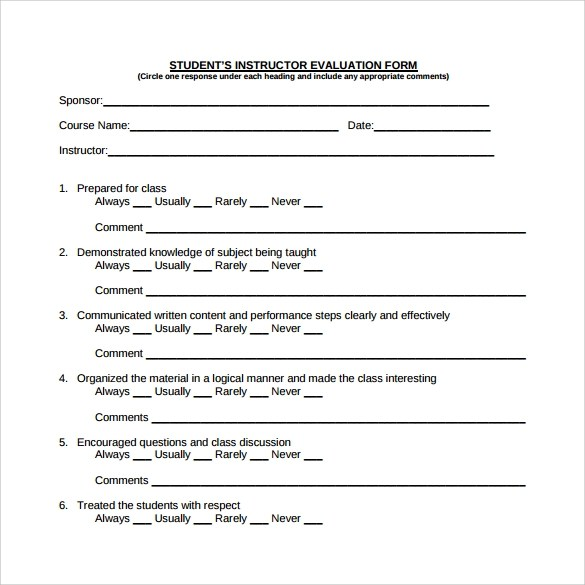 8 Sample Instructor Evaluation Form Templates Sample Templates - sample class evaluation