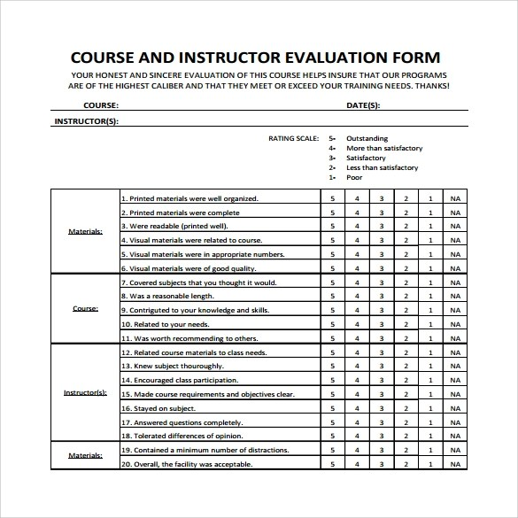 Training Instructor Evaluation Form | Resume Cover Letter Template