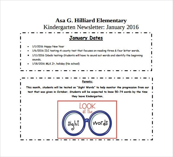 9+ Kindergarten Newsletter Templates - Free Sample, Example, Format - kindergarten newsletter template