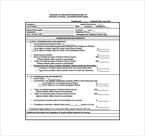 7+ Payroll Authorization Forms Sample Templates - payroll authorization form
