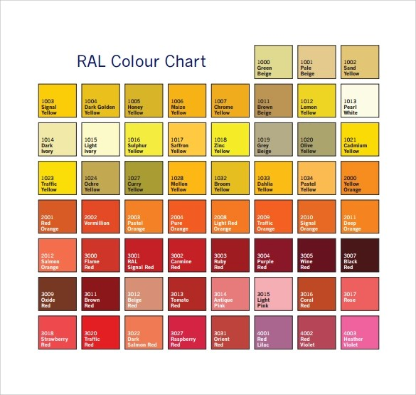 10 Sample RAL Color Chart Templates to Download Sample Templates