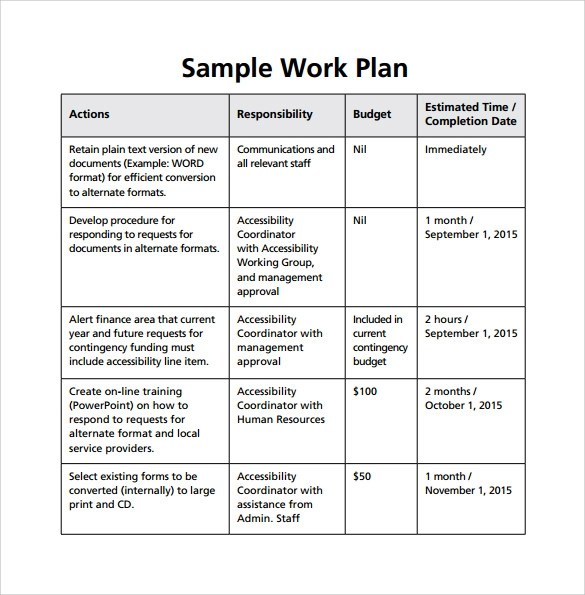 Work Plan Template - 17+ Download Free Documents for Word, Excel, PDF - sample work plan