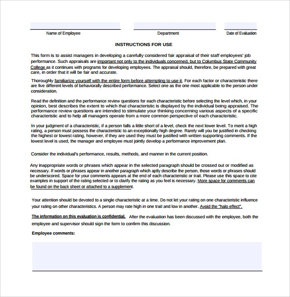 Manager Evaluation Template Employee Performance Guidelines Form - sample manager evaluation