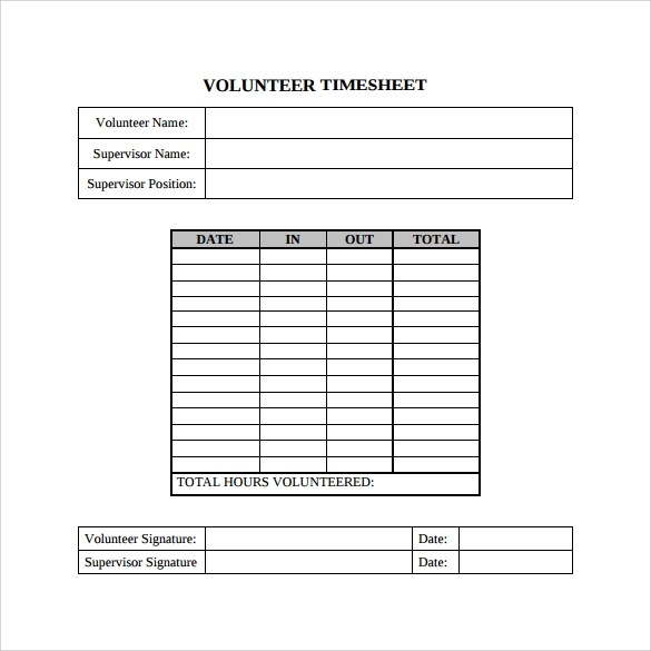 Sample Volunteer Timesheet Sample Biweekly Timesheet Printable