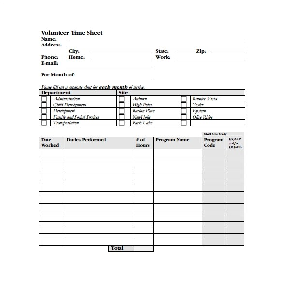 Sample Volunteer Timesheet Sample Community Service Forms Sample