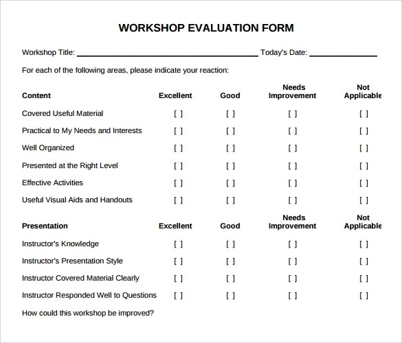 11 Sample Workshop Evaluation Forms to Download Sample Templates - seminar evaluation form