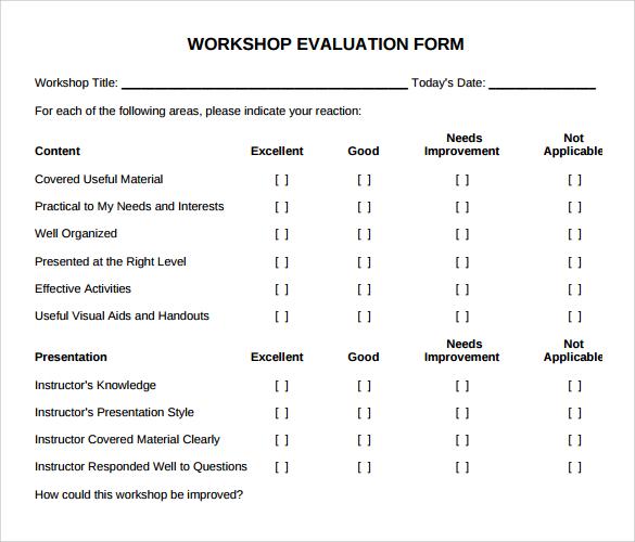 11 Sample Workshop Evaluation Forms to Download Sample Templates