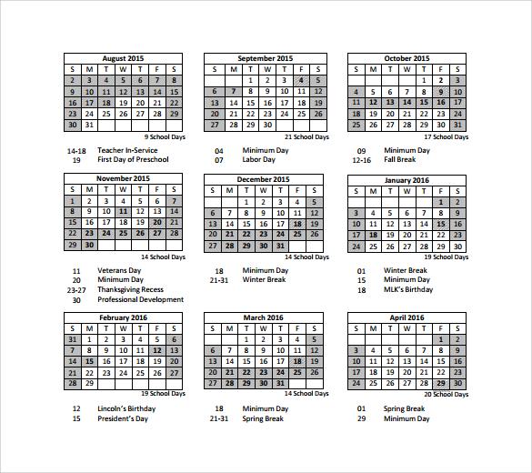 9 Sample Preschool Calendar Templates to Download Sample Templates - preschool calendar template