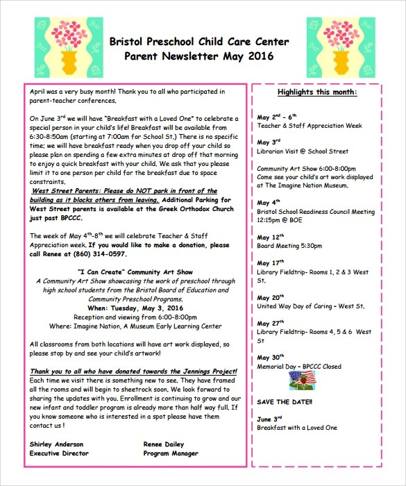 6 Best Preschool Newsletter Templates to Download Sample Templates
