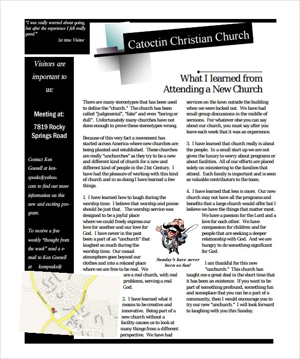 Sample Church Newsletter - 9+ Documents in PDF - church newsletter