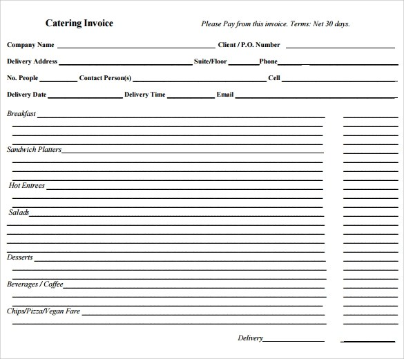 Blank Catering Invoice | Accomplishments For A Job
