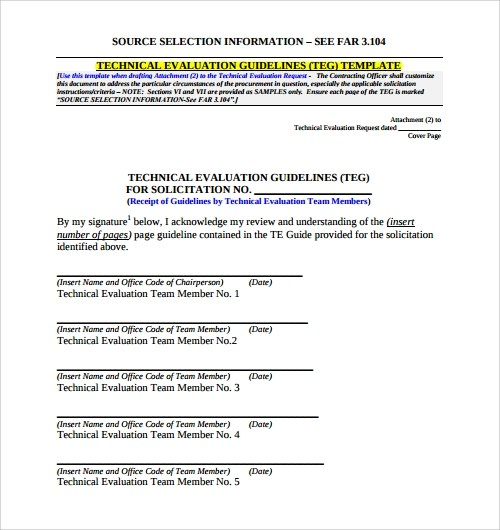 13+ Evaluation Templates Sample Templates - technical assessment template