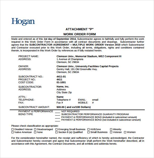 6+ Sample Construction Work Order Forms \u2013 PDF Sample Templates - contract for construction work template