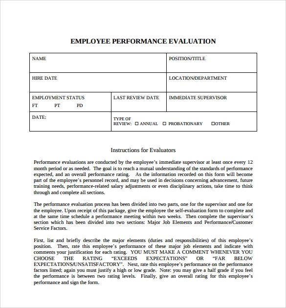 Blank Employee Evaluation Form  BesikEightyCo