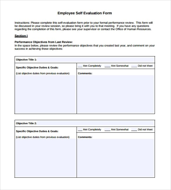 Self Assessment Form Template   Annual Appraisal Form