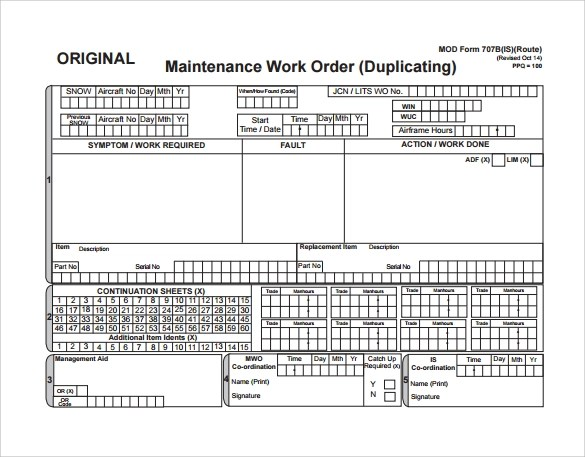 Sample Maintenance Work Order Form - 8+ Free Documents in PDF - free work order form