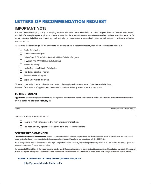 30+ Sample Letters of Recommendation for Scholarship \u2013 PDF, DOC - letter of recommendations