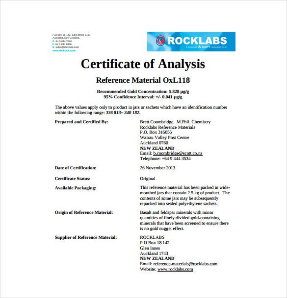 Certificate Of Analysis Template - Design Templates - certificate of analysis template