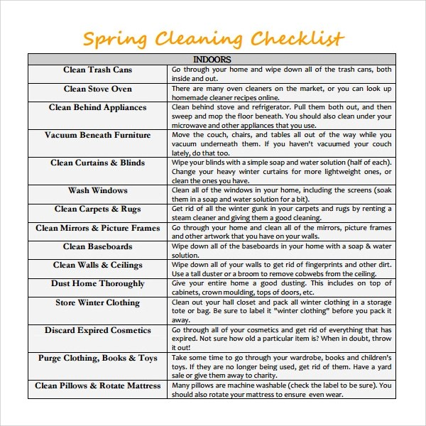 14+ Checklist Samples Sample Templates - Sample Spring Cleaning Checklist