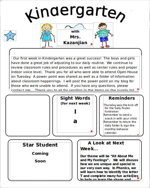 10+ Sample Kindergarten Newsletter Templates Sample Templates - kindergarten newsletter template