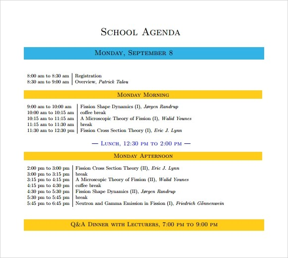 9+ School Agenda Samples Sample Templates