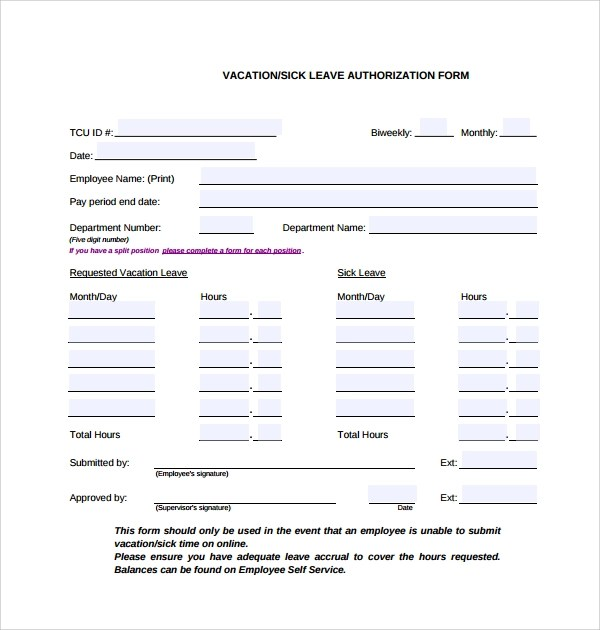 6+ Sample Leave Authorization Form Templates Sample Templates - leave application template