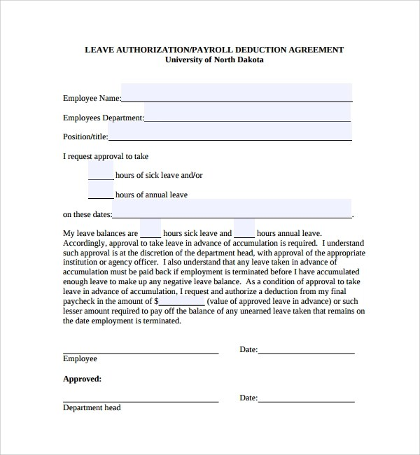 Sample Leave Authorization Form - 5+ Free Documents in PDF - format of leave application form