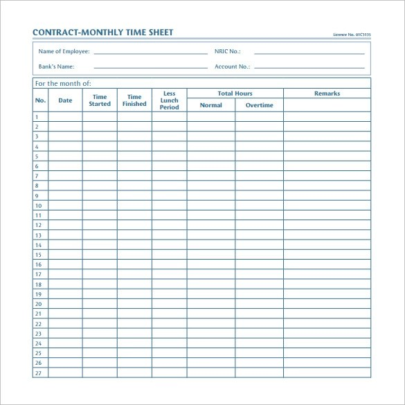 Excel Timesheet Calculator Template For 2017 Free Download Monthly Timesheet Template 15 Download Free Documents