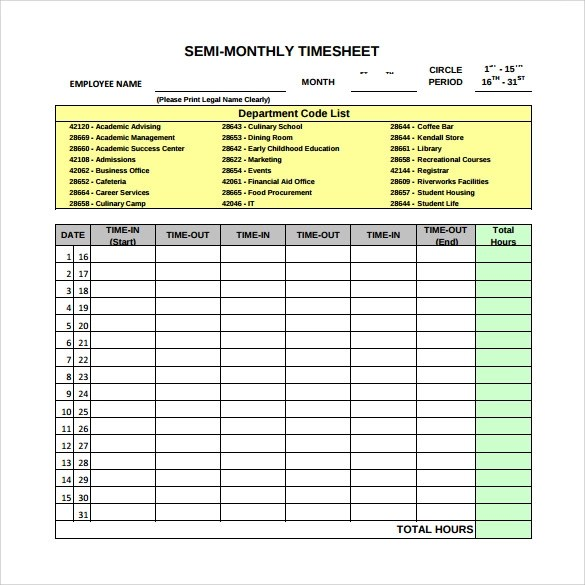 Excel Timesheet Template Semi Monthly | How To Write A Resume With