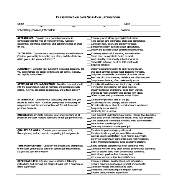 Doc#12751650 Employee Self Assessment u2013 Employee selfevaluations - employee self evaluation form