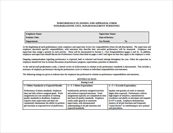 6+ Employee Performance Appraisal Form Templates Sample Templates - employee performance appraisal form